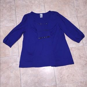 JMS Blue Dressy Studded Plus Size 2X Top